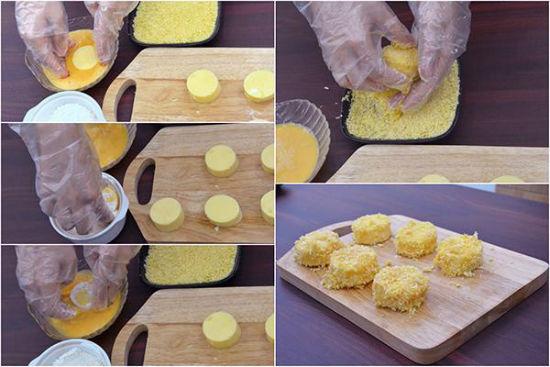 Lăn đậu hũ qua trứng bột chiên xù