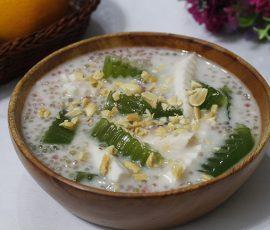 Món chè dừa non thạch lá dứa thanh mát giải nhiệt