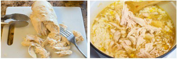 Thịt gà xé nhỏ cho vào nồi súp